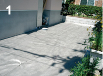 整地が完了したあと、下地材としてグリーンビスタ®プロ防草・砂利下シートを敷設する。※1