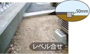 縁石部分は、砂利の厚さ50mm下げる