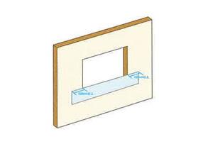 フラッシングシートを窓台へ施工します。開口部左右より、それぞれ150mm以上確保してください。また、開口窓台をすべて覆うことができるようにしてください。