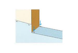 窓台部分へタッカー止めする場合は、ストレッチガード®で覆われる部分にのみ打ち込みます。