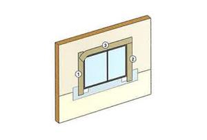 両面防水テープをサッシフランジに貼り付けます。順番は両端(①、②)を先に貼り、最後に上部(③)を貼り付けます。