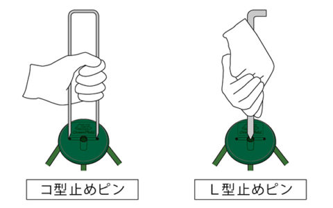 GFワッシャー®の穴にピンを合わせ、垂直に差し込みます。