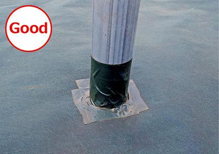 支柱周りを接続テープで固定