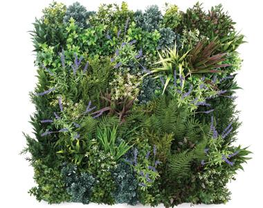 ビスタフォリア®パネルにカラーボックスの人工植物をランダムに差します。