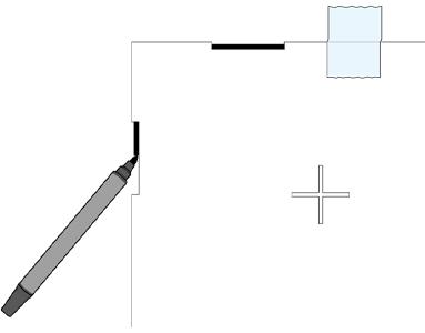 四隅にある欠き込み部分(幅50㎜)8箇所全てを太めのマーカーでなぞり、墨付けします。